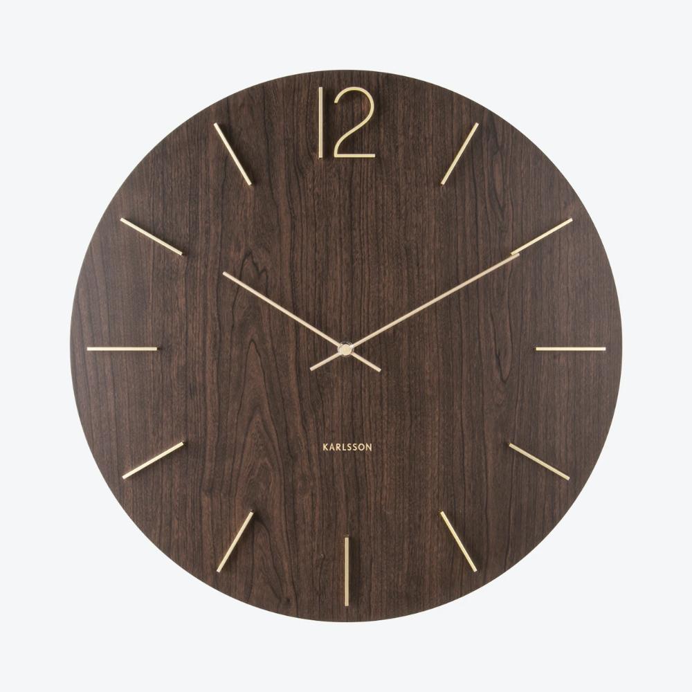 Meek Wall Clock Dark Wood Veneer In 2020 Wall Clock Modern Wood Wall Clock Wall Clock Design
