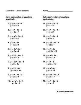 Solving A Quadratic Linear System Quadratics Linear System