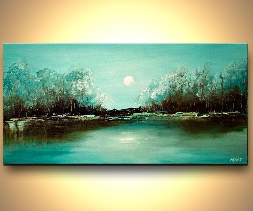 Paisaje Moderno Pintura Turquesa Acrilico Abstracto Pintura Pinturas Paisajes Marinos Paisaje Abstracto Pinturas Abstractas