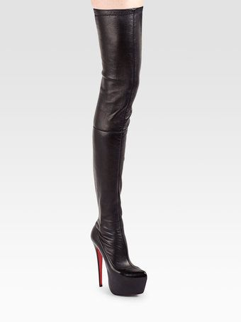 6056a316004 Women's Black Louise Xi 120 Stretch-Suede Over-The-Knee Boots ...