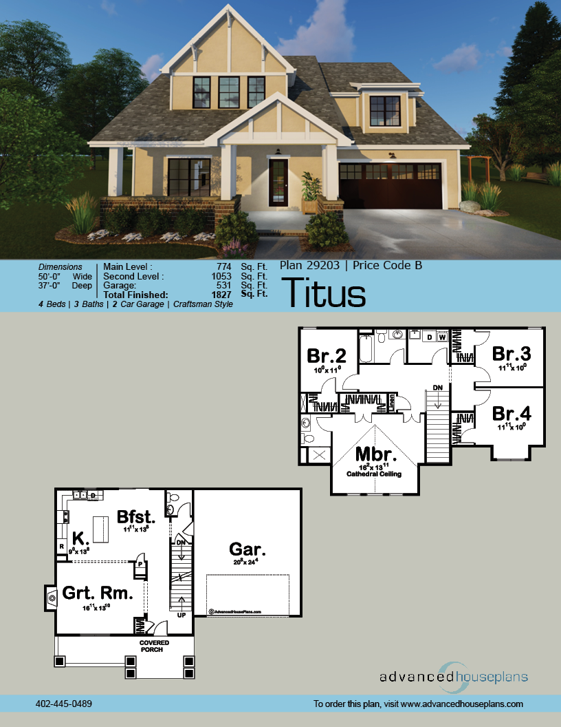 2 Story Cottage Style House Plan Titus Cottage Style House Plans Bungalow House Plans House Plans