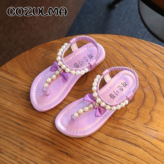 3bd889102401 COZULMA Girls Sandals Summer Shoes Girls Flip Flops Kids Beach Sandals  Princess Rhineston Beading Shoes Child Gladiator Shoes