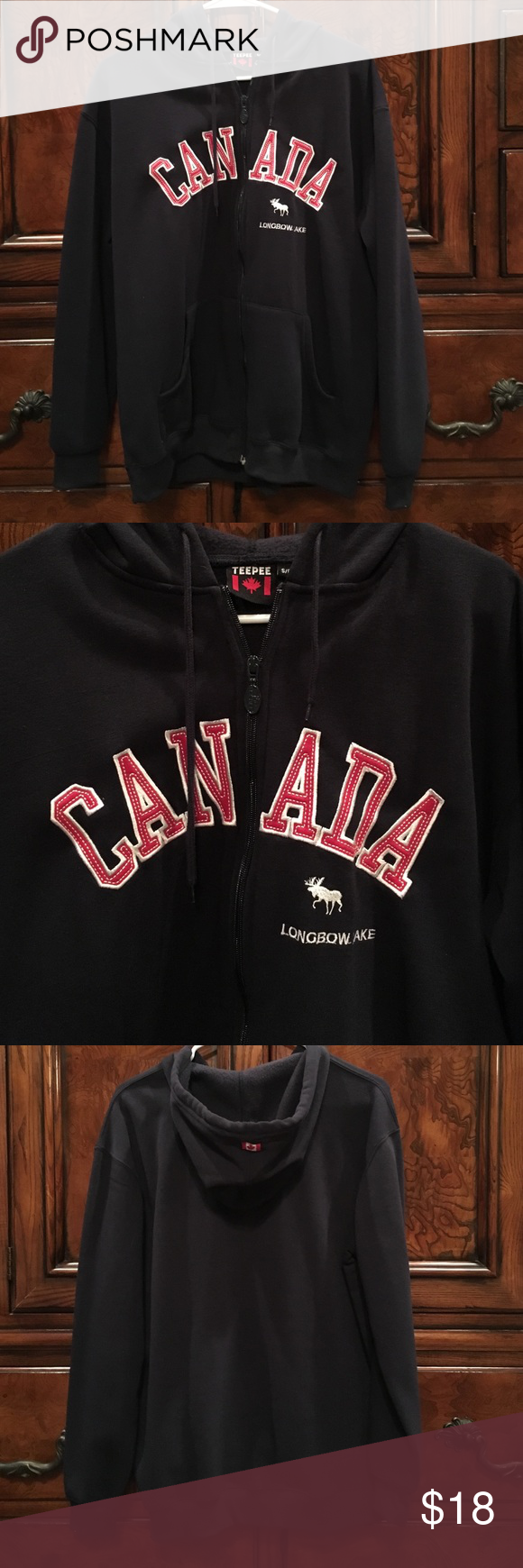 Blue zip up Canada jacket Teepee, Blue, size small Canada 🇨🇦 jacket. Zip up front, hooded with front pockets. Great condition. Fits more like a M/L Teepee Jackets & Coats Utility Jackets