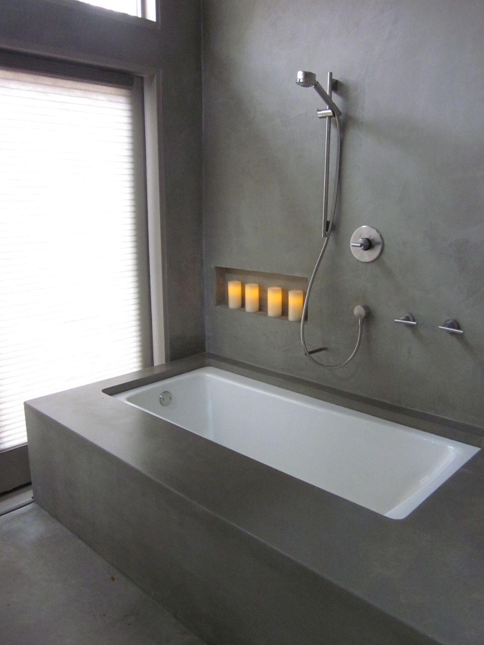 Cement Idea For Tub Concrete Bathtub Bathtub Surround Bathroom