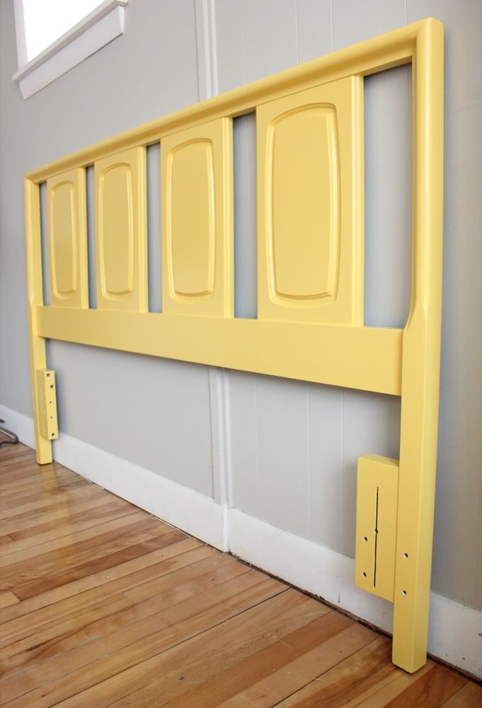 yellow painted refinished mid-century modern vintage chic queen ...