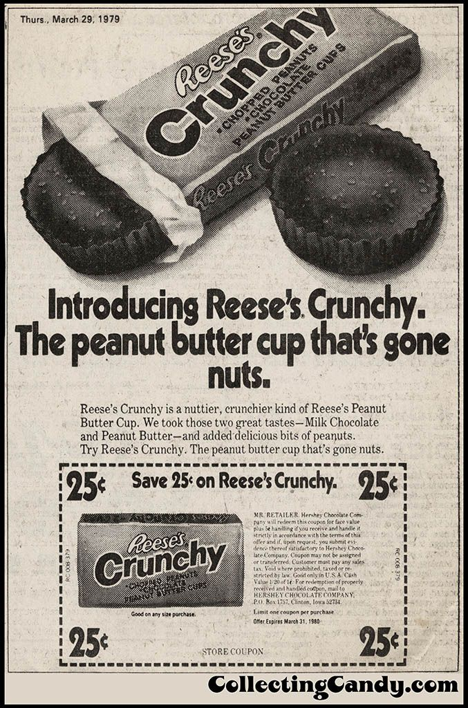 Reese's Crunchy Introduction newspaper ad and coupon