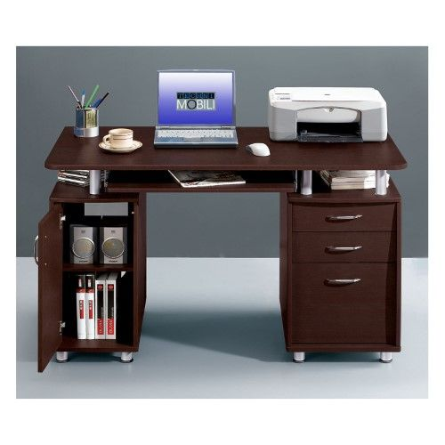 Techni Mobili Complete Computer Workstation With Cabinet And Drawers Chocolate
