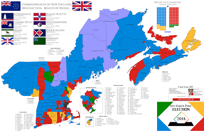 Alternate History Weekly Update Map Monday Commonwealth Of New England 2014 House Of Commons Election By