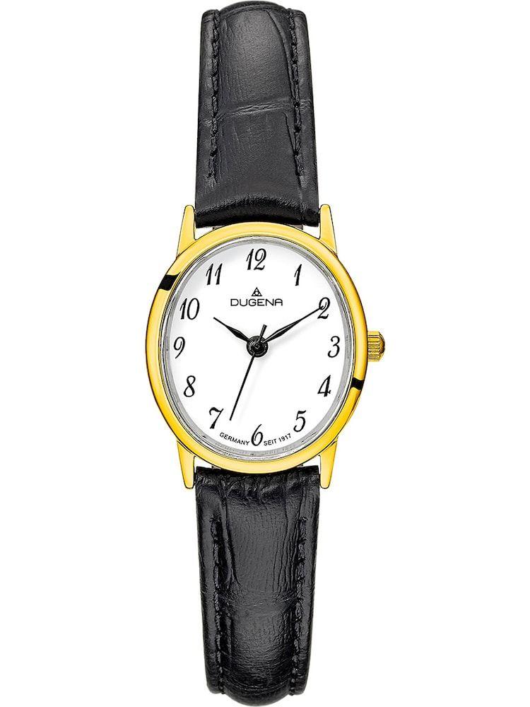 DUGENA Armbanduhr Damen, Gold / Schwarz / Weiß, Größe One Size