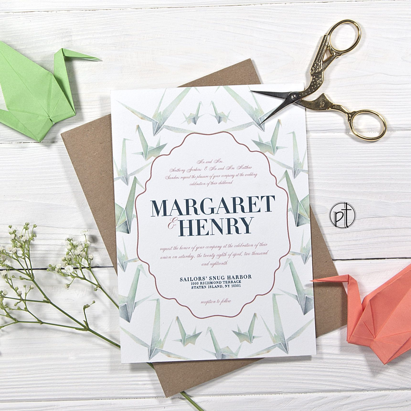Origami Paper Crane Wedding Invitation Watercolor Illustration