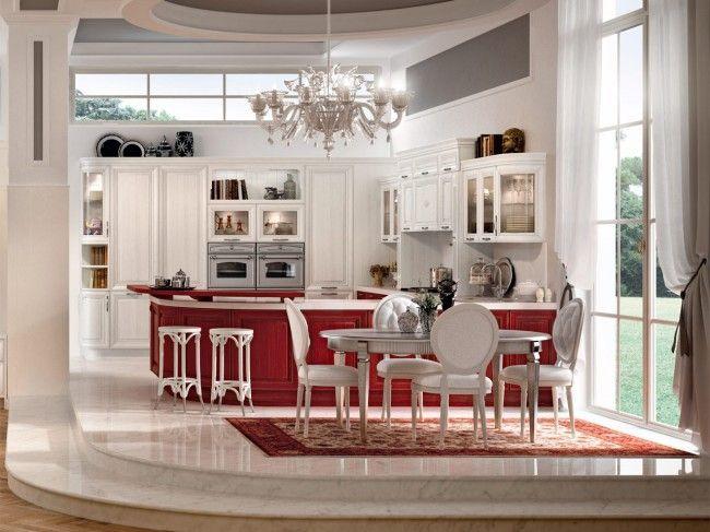 luxus küche-rot weiß-Marmorboden luxus Hochglanz - küche rot hochglanz