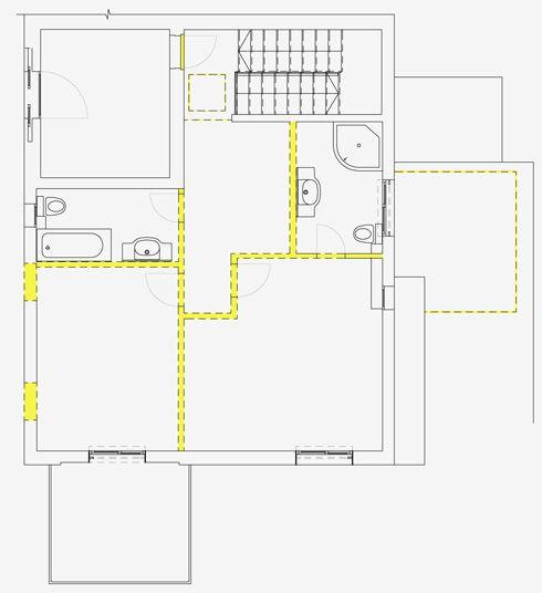 תוכנית הקומה העליונה לפני השיפוץ (תכנית: רוני ברטל שלם