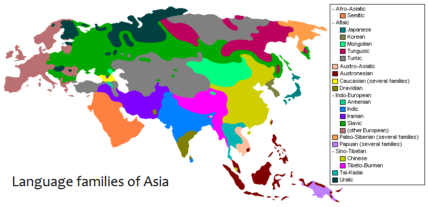 Language Families Of Asia REF Geo World Regions Pinterest - Asia language map