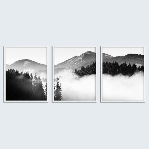Set of 3 piece wall art misty mountain scandinavian forest print black and white misty forest