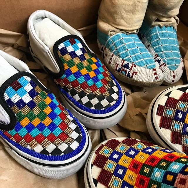 Omg!!! My son s beaded moccasins and mini beaded Vans are back from  Vancouver! Haven t seen these in two years. Reunited with his mom s  pair...they are so ... efe1049d10c