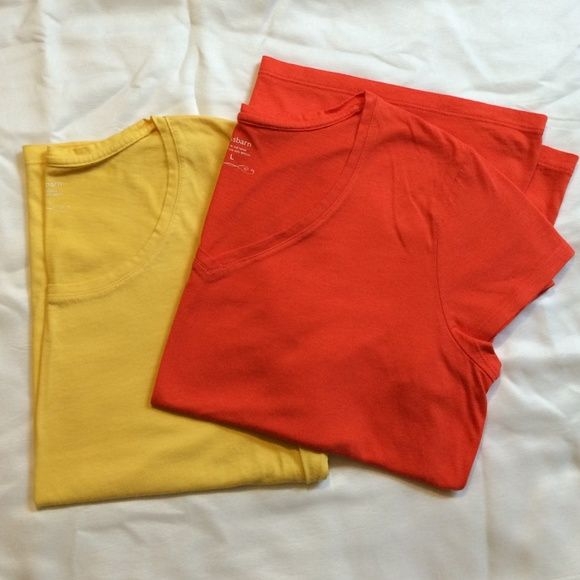 Bundle of two Dress Barn Tees Pretty summer colors orange is v neck yellow is scoop neck Dress Barn Tops