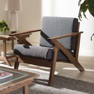 Shop For Baxton Studio Cymone Midcentury Modern Walnut Wood Grey Glamorous Wooden Living Room Chairs Design Decoration