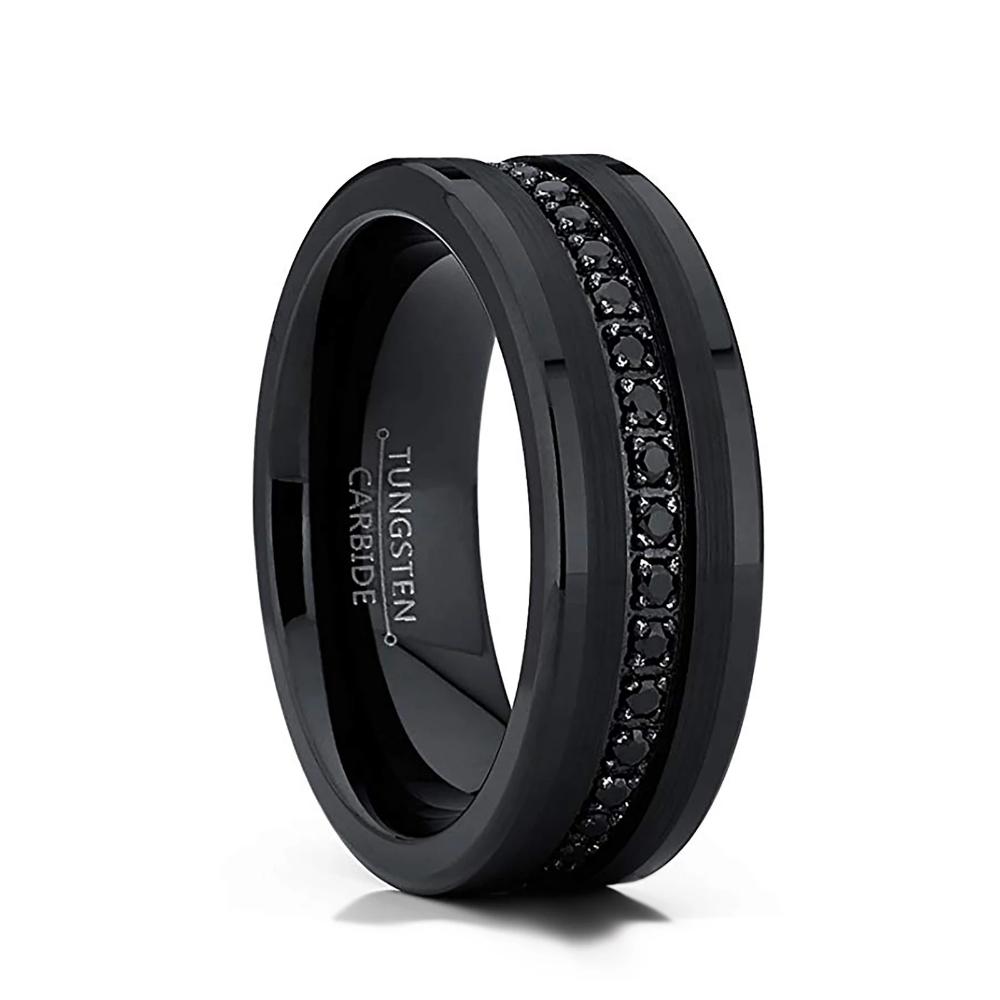 8mm Black Tungsten Wedding Band White CZ Diamond Inlay
