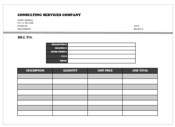 Sample Consulting invoice Consulting Invoice Template Pinterest - requisition form in pdf
