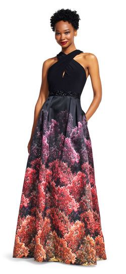 Adrianna Papell | Crossover Halter Dress with Coral Printed Skirt ...