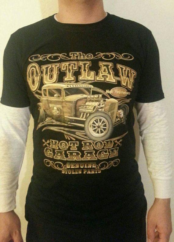 52d4f583 Men's Hot Rod Rat Rod Antique Car Soft Outlaw Garage Black T-shirt Screen  Print