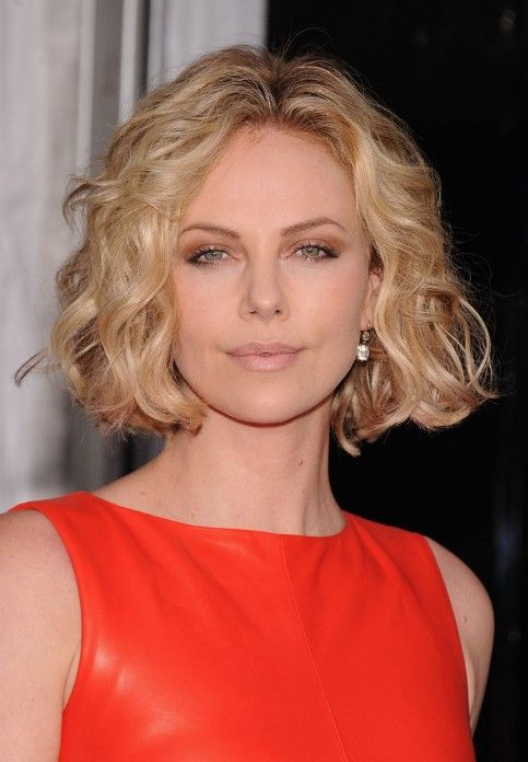 Charlize Theron Short Blonde Curly Bob Hairstyle Short