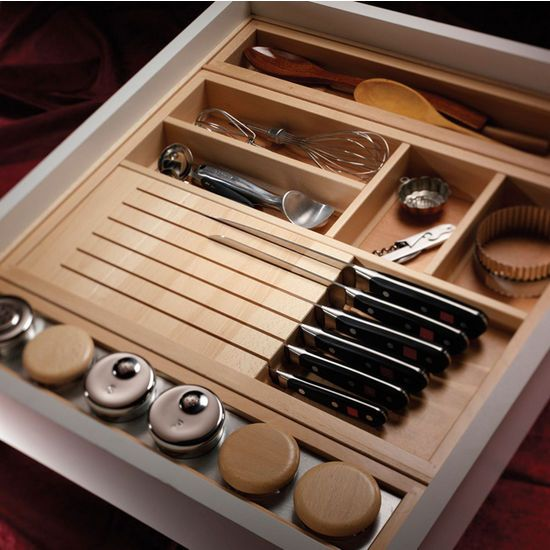 Hafele Wood Kitchen Cutlery Tray With Knife Block Kitchensource