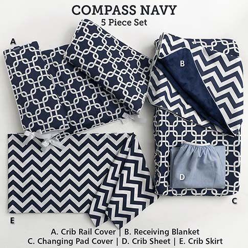 Compass Navy 5 pc crib bedding set by Bassett Furniture | Bassett ...