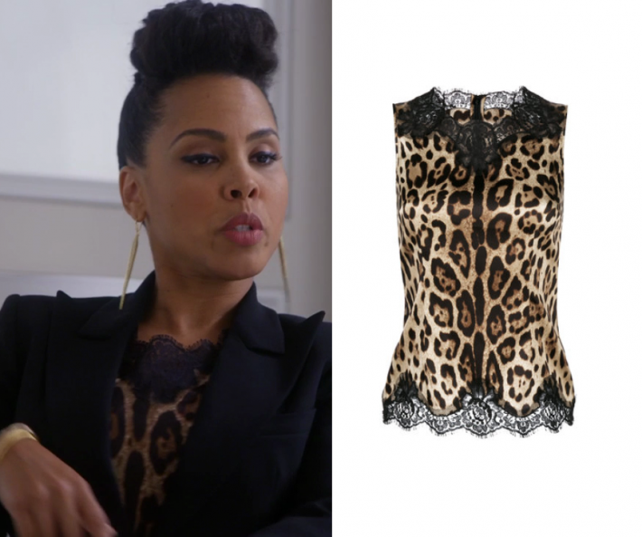 ba8a58a041c1d5 Tegan Price (Amirah Vann) wears this leopard printed lace trim top in this  episode