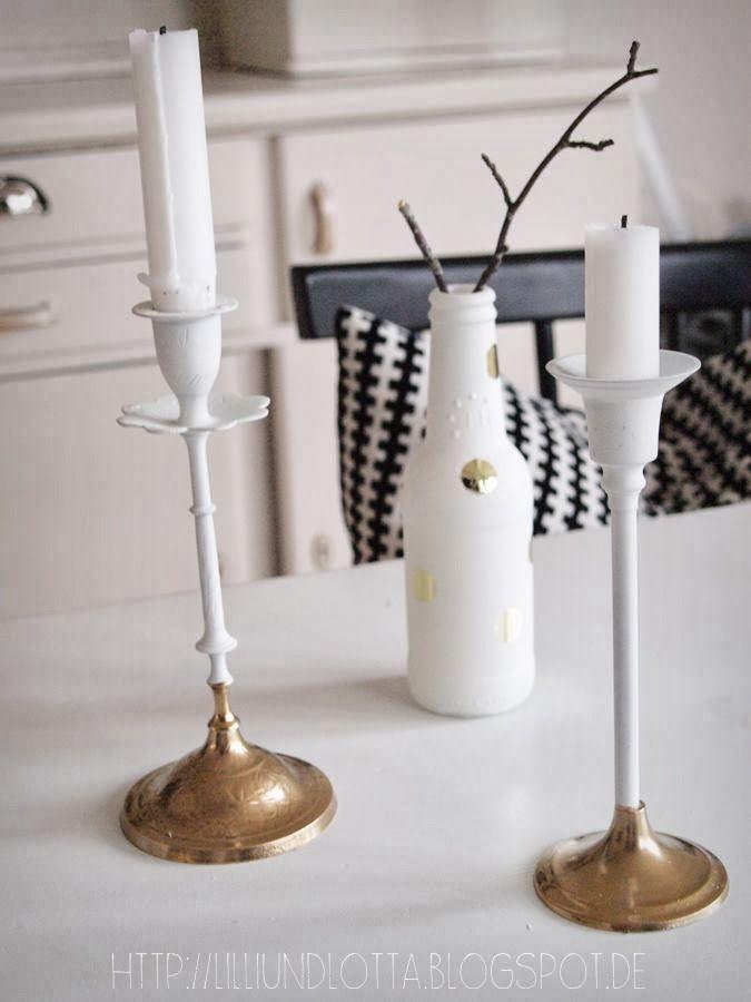DIY: Ist denn alles Gold was glänzt? Weiß lackierte Kerzenständer mit gold-besprühtem Fuß