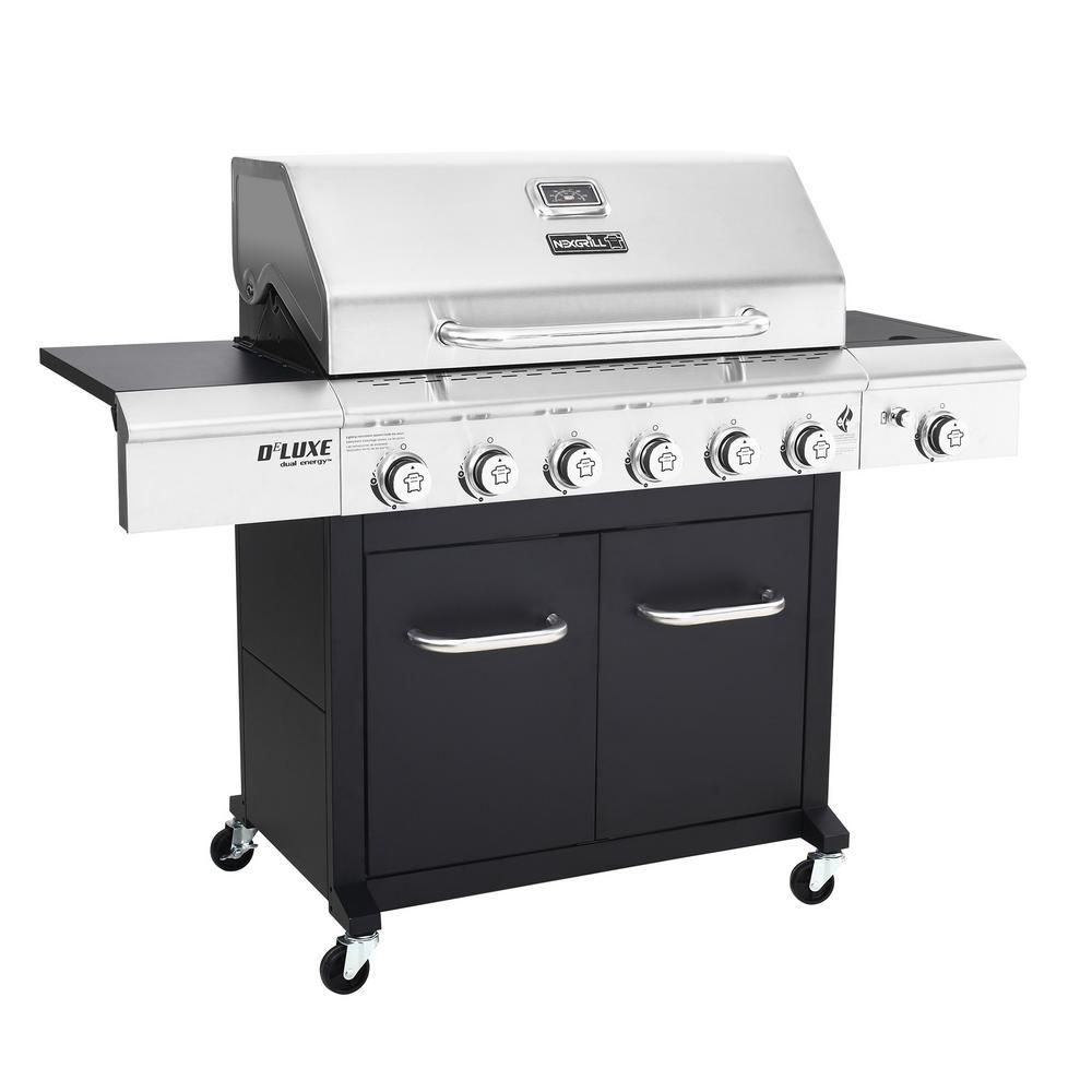 Nexgrill Deluxe 6 Burner Propane Gas Grill In Black With Side Burner 720 0898 The Home Depot Gas Grill Propane Gas Grill Propane