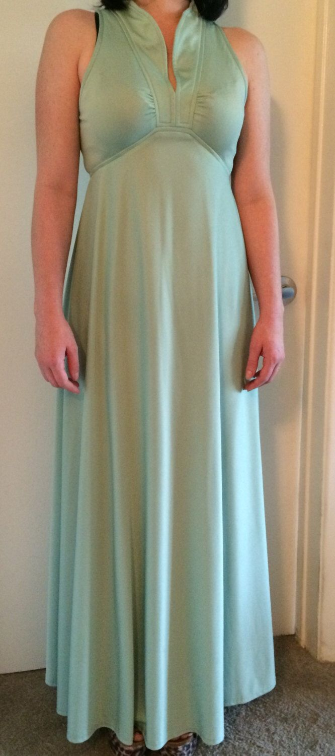 Vintage 1960\'s full length pale green dress size 4 by ...
