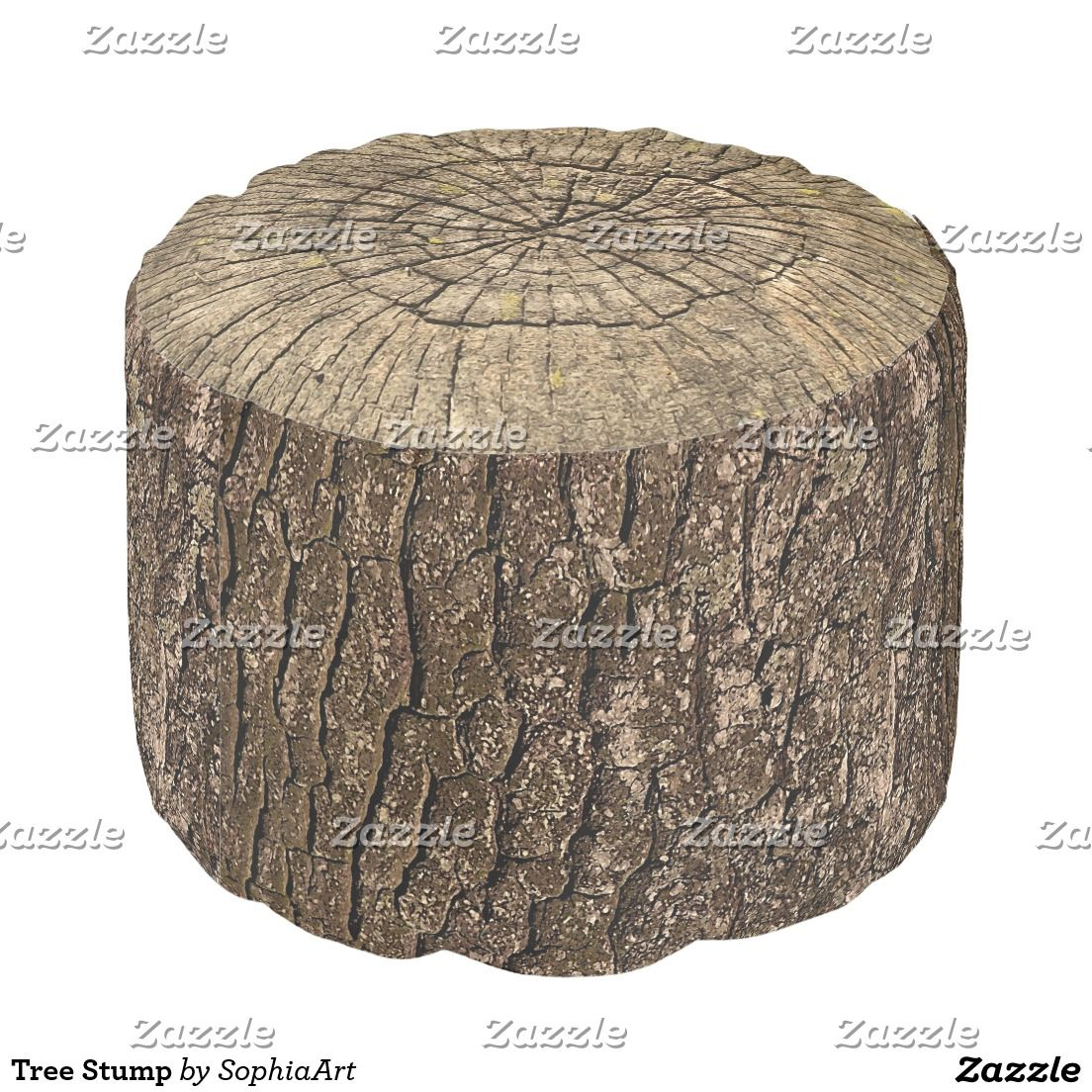 Tree Stump Round Pouf