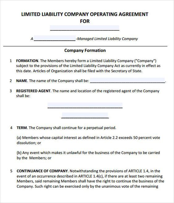 Llc Operating Agreement  Sample  Template  Llc Partnership