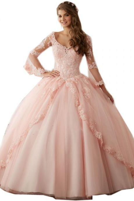 Dresses for 15 Years,Long Sleeves Sweet 16 Ball Gowns,Pink Lace ...