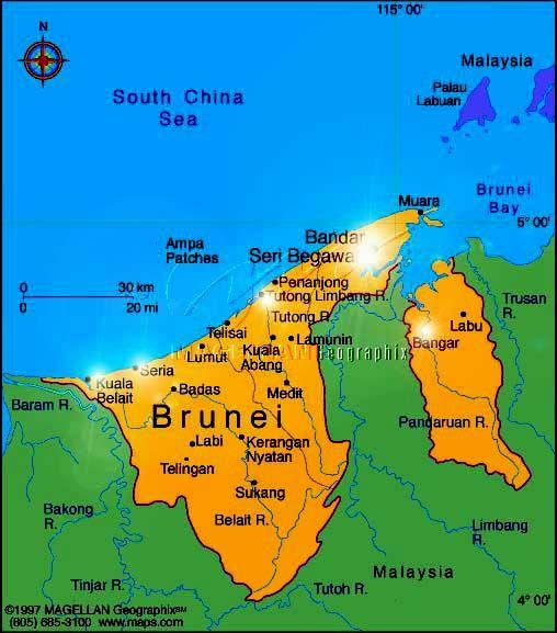 nice Brunei Darussalam Map Travelquaz Pinterest