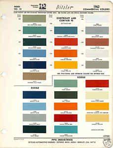 1962 Chevrolet Dodge Truck Paint Color Chart Ppg 62 Paint Color