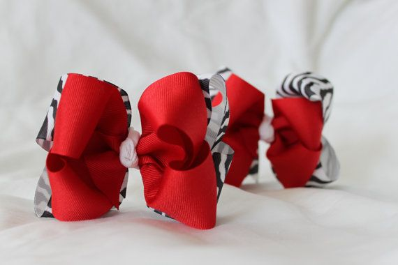 Zebra Red Boutique Hairbows 2 for Infant Toddler by fashionbaby, $9.99