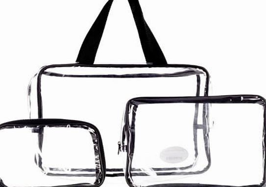 4ebe001970e8 LaRoc 3 Piece Cosmetic Makeup Toiletry Clear PVC Travel Wash Bag Holder Pouch  Set Kit No