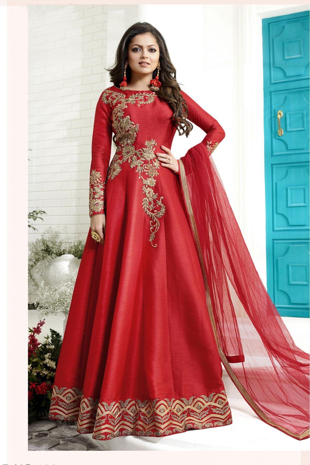 367dc7f652 Buy Art Silk Party Wear Anarkali Suit In Red Colour @ ninecolours.com.  Worldwide