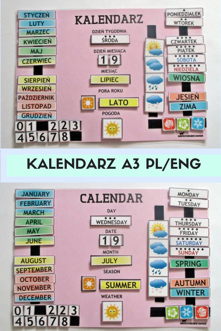 Kalendarz Pogody A3 Z Rzepami W Wersji Polskiej Lub Angielskiej Idealny Do Przedszkola I Szkoly Calendar For Kids Preschool Weat How To Plan Education Kids