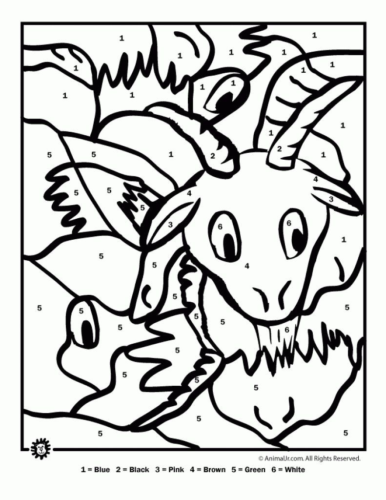 Farm Animals Color By Number Printable Coloring Picture For Children