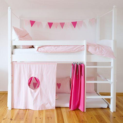 Hochbettvorhang Streifen Rosa Weiß Mit Fenster Maru Maru