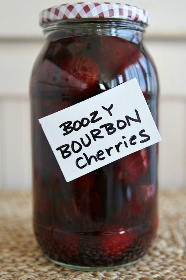 Bourbon Cherries: Whether you enjoy them as a boozy snack or a pretty cocktail garnish, these spiked cherries are sure to please.  Recipe from RecipeGirl.com