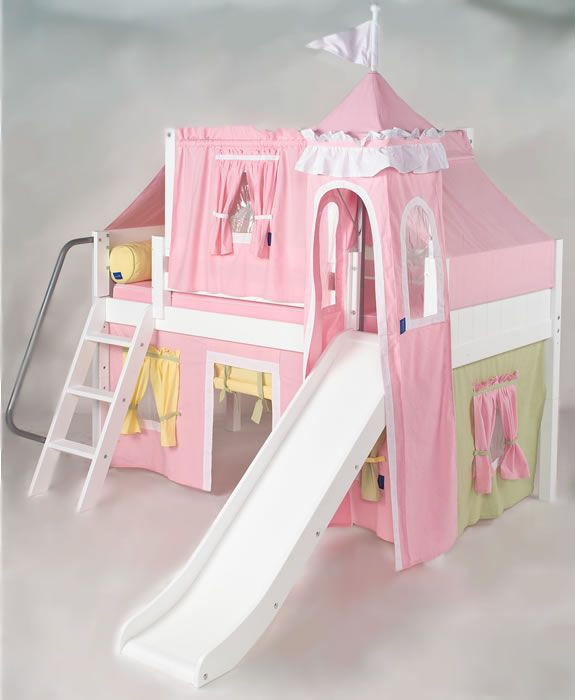 Pink green yellow princess castle bed with slide by for Castle kids room