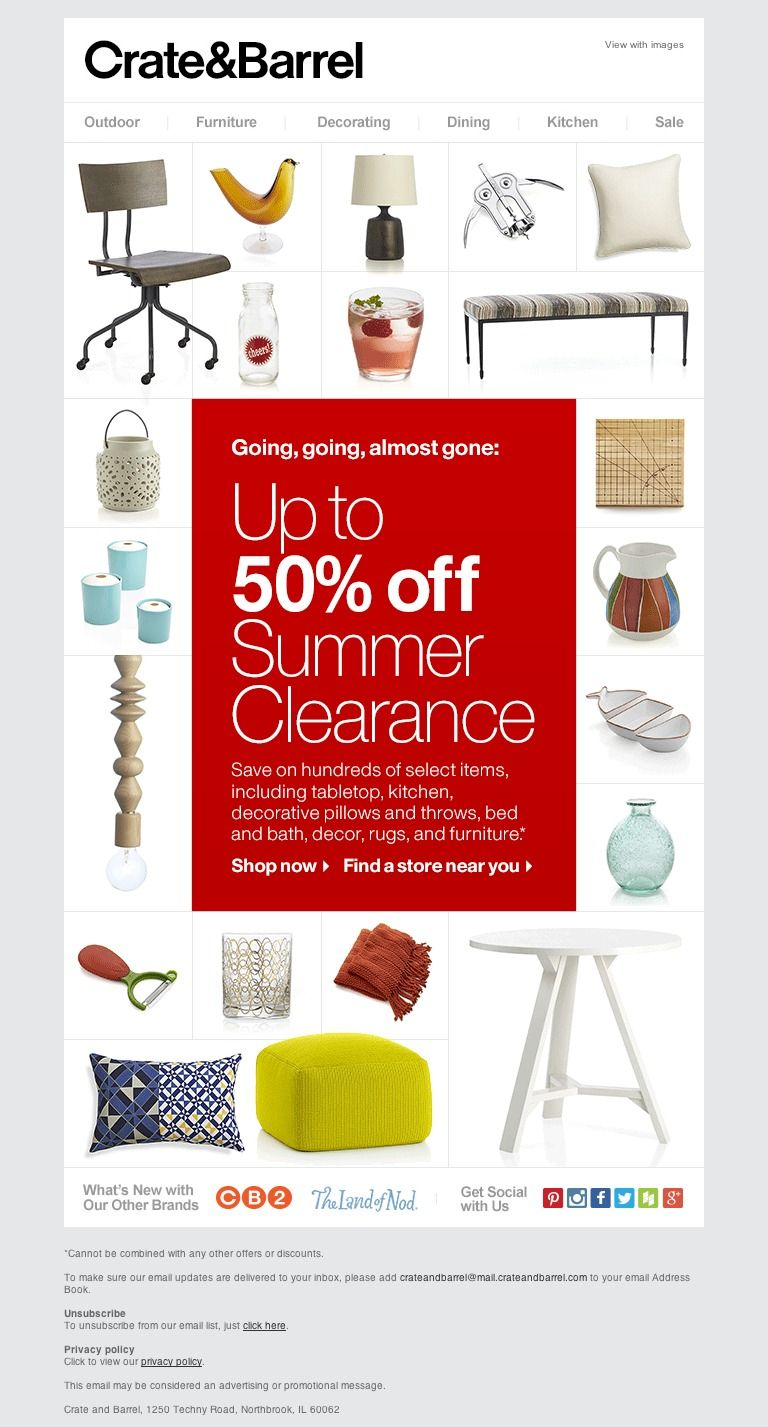 Crate And Barrel Last Chance To Save Up To 50 Off Summer Clearance Crate And Barrel Summer Clearance Crates