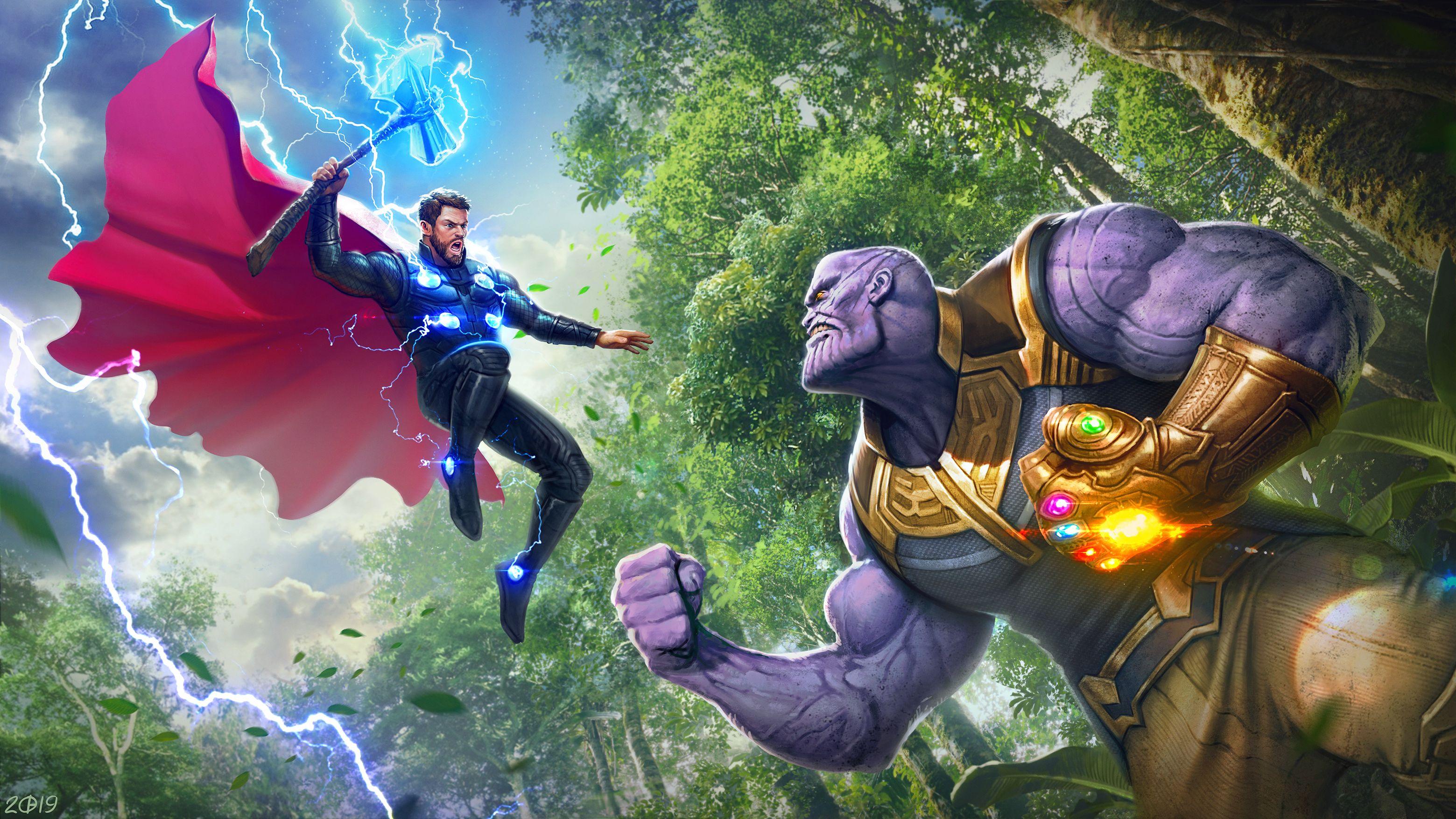 Thor Vs Thanos 4k Thor Vs Thanos Marvel Drawings Marvel Wallpaper