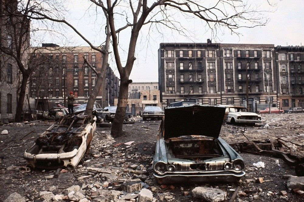 Abandoned cars and buildings in The Bronx, New York 1970