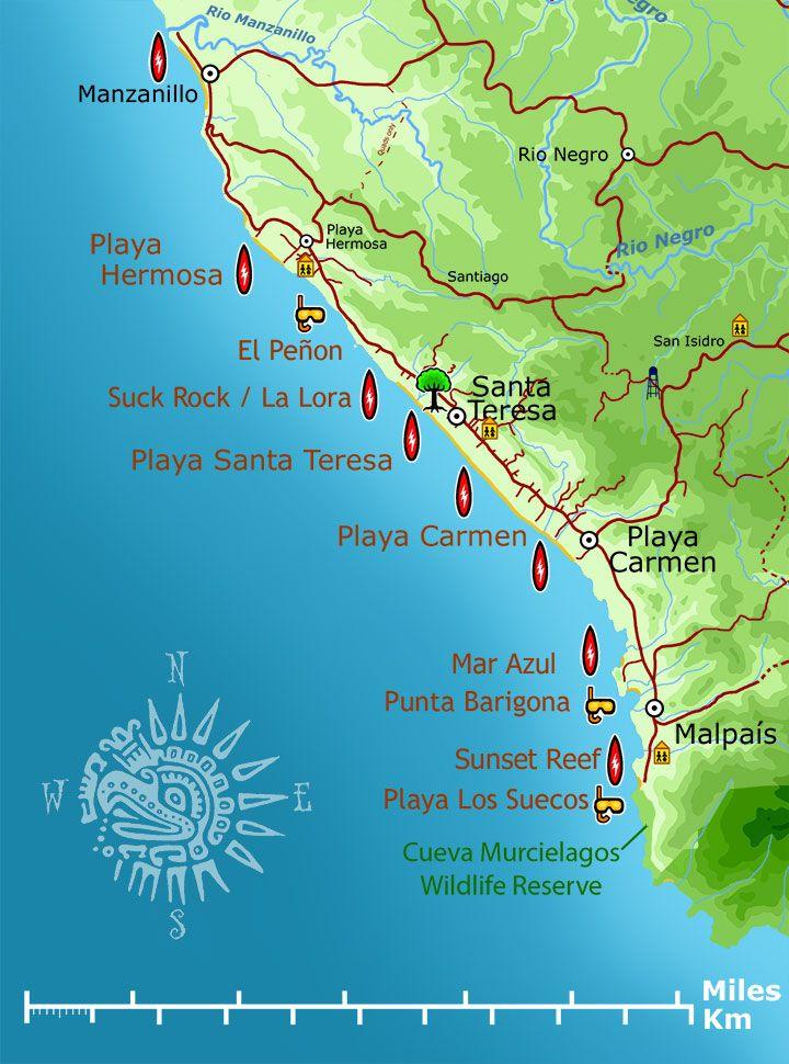 santa teresa costa rica map Surf Map Surf Maps Santa Teresa Costa Rica Costa Rica santa teresa costa rica map