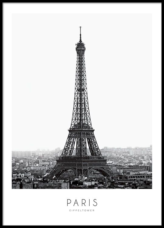 Poster With A Photograph Of The Eiffel Tower